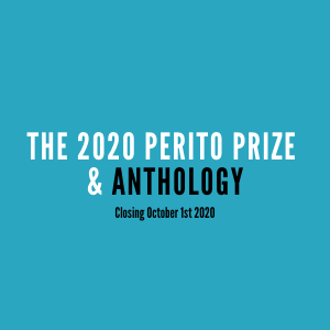 A image showing details about the 2020 Perito Prize and the book published about the stories called the Perito Prize Anthology